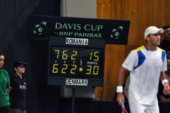 Romanian tennis player Horia Tecau in action at a Davis Cup match Stock Photography