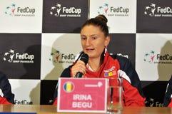 Romanian tennis player Irina Begu during a press conference. CLUJ-NAPOCA, ROMANIA - APRIL 13, 2016: Romanian tennis player Irina Begu answering questions during Stock Image