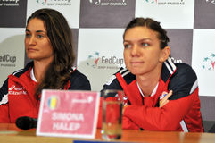 Romanian tennis player Simona Halep and Monica Niculescu during Stock Images