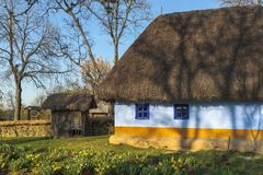Romanian thatched rustic house Stock Image