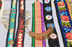 Romanian traditional accessories for women. Belts, finery and embroidery Royalty Free Stock Photos