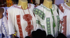 Romanian traditional blouse - textures and traditional motifs Royalty Free Stock Photo
