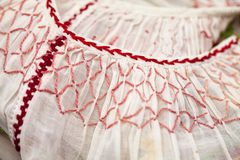 Romanian traditional blouse - textures and traditional motifs Royalty Free Stock Photos