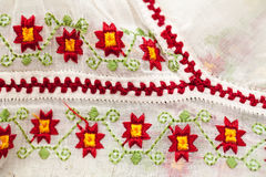 Romanian traditional blouse - textures and traditional motifs. Vintage textures royalty free stock photography