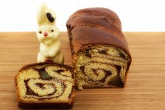 Romanian traditional cake and chocolate bunny Stock Images
