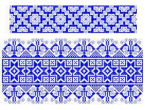 Romanian traditional carpet theme. Two blue traditional romanian models for carpets Stock Image