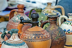 Romanian traditional ceramic in the form of jugs. Banat, Romania Royalty Free Stock Images