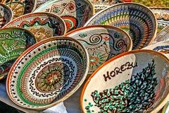 Romanian traditional ceramic plates Royalty Free Stock Photos