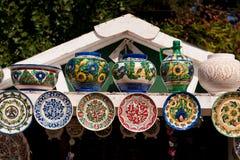 Romanian traditional ceramic plates Horezu area Royalty Free Stock Photography