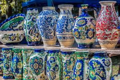Romanian traditional ceramic in the vases form Stock Image