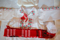 Romanian traditional christening baby white Royalty Free Stock Photography
