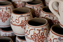 Romanian traditional clay cups details Royalty Free Stock Image