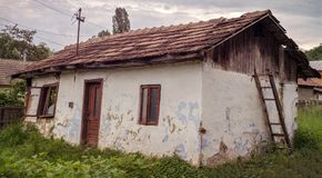 Romanian traditional clay house abandoned. Close view Royalty Free Stock Images