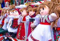 Romanian traditional colorful handmade dolls, close up.  Gift dolls Stock Image