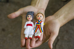 Romanian traditional colorful handmade dolls Royalty Free Stock Image
