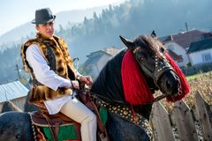 Romanian traditional costume in Bucovina county on celebration time royalty free stock photo