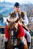 Romanian traditional costume in Bucovina county on celebration time stock images