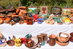 Romanian traditional crafts. Handmade crafts and displayed for sale at a fair Royalty Free Stock Image