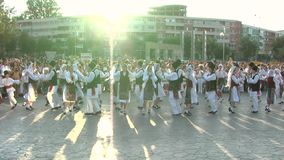 Romanian traditional dance at the International Folklore Festival stock footage