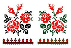 Romanian traditional floral theme - cdr format. Two traditional romanian models in red green and black representing stylized roses stock illustration