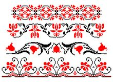 Romanian traditional floral theme - cdr format. Four traditional romanian models in red and black representing stylized flowers stock illustration