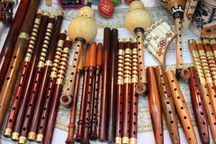 Romanian traditional flutes. Handmade wooden Stock Images