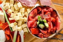 Romanian traditional food. On natural wood background Royalty Free Stock Photos