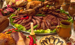 Romanian traditional food. And pottery Stock Image