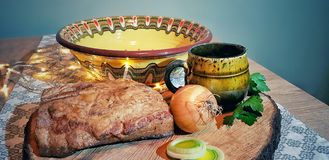 Romanian traditional food. On table stock photography