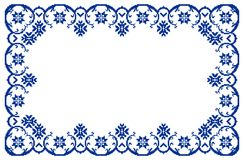 Romanian traditional frame - cdr format. Traditional romanian floral frame in blue stock illustration