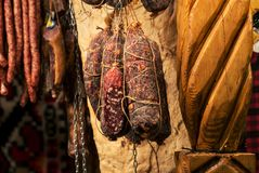 Romanian traditional pork meat products Royalty Free Stock Photos