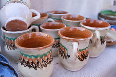 Romanian traditional pottery handcrafted mugs Stock Photos