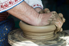 Romanian traditional pottery making Stock Images