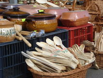 Romanian traditional pottery at outdoor market Stock Image