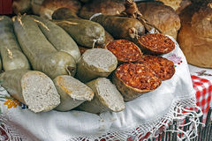 Romanian traditional red and white sausage Royalty Free Stock Image