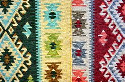 Traditional rug. Romanian traditional carpet woven with colored wool Royalty Free Stock Photography