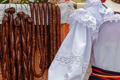 Romanian traditional sausages hanging on a fence Stock Image
