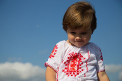 Romanian traditional shirt toddler girl Stock Images