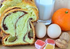 Romanian traditional sponge cake. Cozonac Stock Images