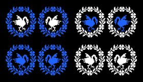 Romanian traditional theme - cdr format. Romanian traditional theme for carpet representing stylised swan and floral border in blue and white on black background vector illustration