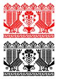 Romanian traditional theme - cdr format. Traditional romanian models for pillows in red and black representing stylized turkeys and flowerpot royalty free illustration