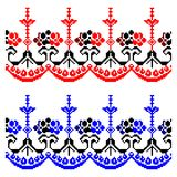 Romanian traditional theme - cdr format. Romanian traditional models for carpets in red black and blue Stock Images