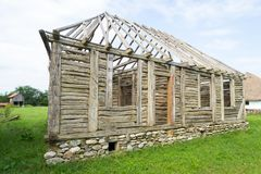 Romanian traditional wood house frame Royalty Free Stock Photos