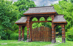 Romanian traditional wooden door from Maramures area Stock Image