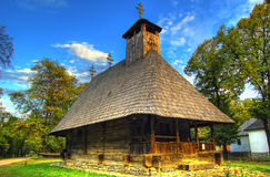 Romanian traditional wooden house in open air museum. National Village Museum in Bucharest, Romania, Europe Royalty Free Stock Photo