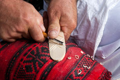 Romanian traditional wooden spoon making Royalty Free Stock Photos
