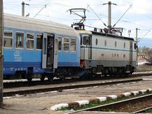Romanian train. With locomotive leaving the station Royalty Free Stock Images