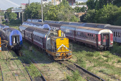 Romanian trains in depot Royalty Free Stock Photography