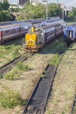 Romanian trains in depot Stock Images
