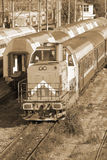 Romanian trains in depot Royalty Free Stock Images